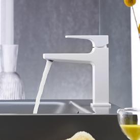 Hansgrohe Metropol Einhebel-Waschtischmischer 110, mit Zungengriff, mit Ablaufgarnitur weiß matt