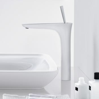 Hansgrohe PuraVida Einhebel-Waschtischmischer 240, für Waschschüsseln, Anschluss 900 mm mit Push-Open-Ablaufgarnitur, weiß/chrom