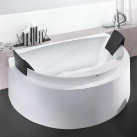 Hoesch AVIVA Halbrunde Vorwand-Badewanne mit 2 Rückenstützen, Einbau weiß