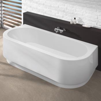 Hoesch HAPPY D Halbrunde Badewanne mit Schürze weiß