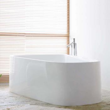 Hoesch SINGLEBATH Duo freistehend Badewanne, Überlauf rechts weiß
