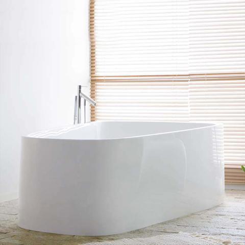 Hoesch SINGLEBATH Duo freistehend Badewanne, Überlauf links weiß