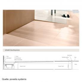 poresta systems Slot S Duschelement für Ablauf senkrecht, links mit Fliesenprofil 1,2 cm