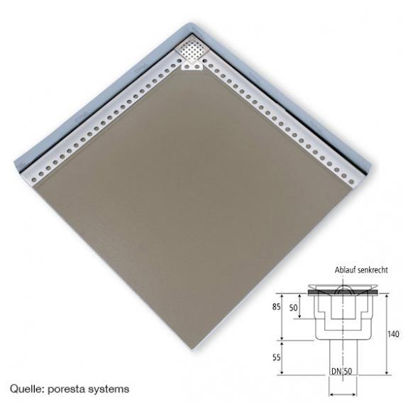 poresta systems Slot Duschelement Ablauf senkrecht, mit Fliesenprofil 1,2 cm