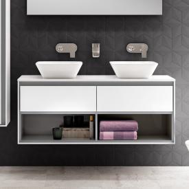 Ideal Standard Connect Air Waschtischunterschrank für Doppelwaschtisch mit 2 Auszügen und 2 offenen Fächern Front weiß glanz / Korpus weiß glanz/hellgrau matt