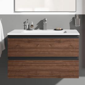 Ideal Standard Connect E Waschtisch mit Waschtischunterschrank mit 2 Auszügen Front walnuss dekor/Korpus walnuss dekor, Griff anthrazit