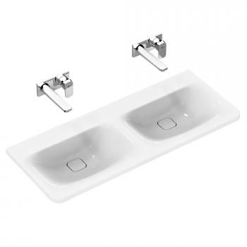 Ideal Standard Tonic II Möbel-Doppelwaschtisch weiß, ohne Hahnloch, mit verdecktem Überlauf