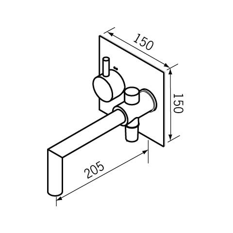 Jado Geometry UP-Einhebel Wannenfüll- und Brausebatterie