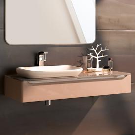 Geberit myDay Waschtischunterschrank für Einbauwaschtisch mit LED-Beleuchtung Front und Korpus taupe hochglanz