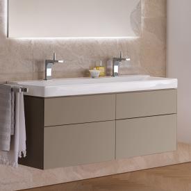 Geberit Xeno² Waschtischunterschrank für Doppelwaschtisch mit 4 Auszügen Front greige matt/Korpus greige matt