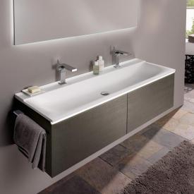 Geberit Xeno² Waschtischunterschrank für Doppelwaschtisch mit 2 Auszügen Front scultura grau matt / Korpus scultura grau matt