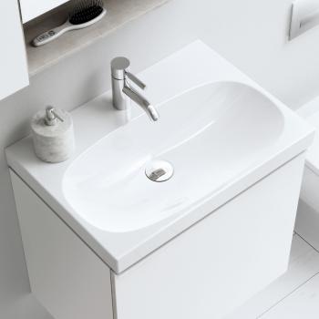 Geberit Acanto Waschtisch mit Überlauf weiß, mit 1 Hahnloch