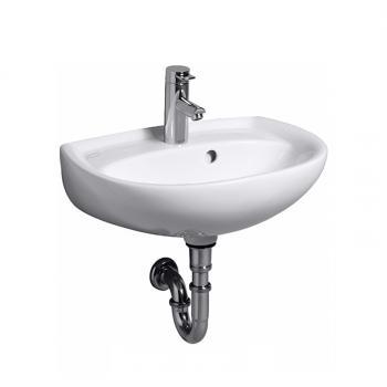 Geberit Renova Handwaschbecken weiß, mit 1 Hahnloch, mit Überlauf