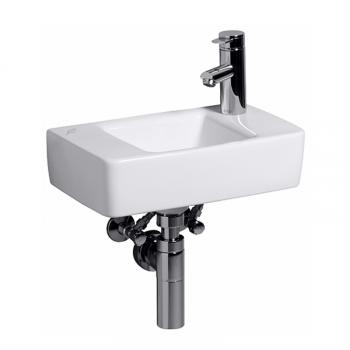 Geberit Renova Plan Handwaschbecken weiß, mit KeraTect, mit 1 Hahnloch, ohne Überlauf