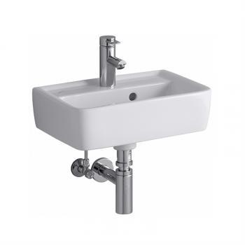 Geberit Renova Plan Handwaschbecken weiß, mit KeraTect, mit 1 Hahnloch, mit Überlauf