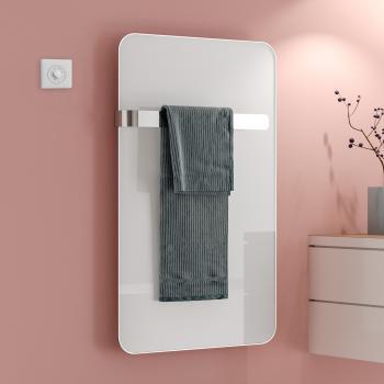Kermi Elveo Badheizkörper für rein elektrischen Betrieb mit Handtuchhalter weiß, 255 Watt, mit Elektro-Set WKS in weiß