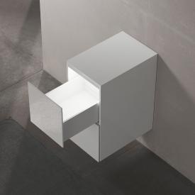 Keuco Edition 11 Sideboard mit 2 Auszügen und LED-Innenbeleuchtung Front Glas weiß/Korpus Lack weiß seidenmatt