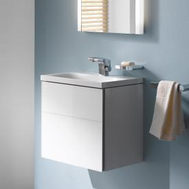 Keuco Royal Reflex Handwaschbeckenunterschrank mit 1 Tür Front Glas weiß / Korpus weiß