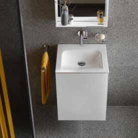 Keuco X-Line Handwaschbeckenunterschrank mit 1 Tür Front weiß / Korpus weiß seidenmatt