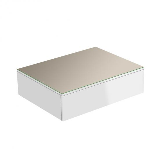 Keuco Edition 400 Sideboard mit 1 Glasplatte und 1 Auszug Front/Korpus weiß hochglanz / Glasplatte cashmere glänzend