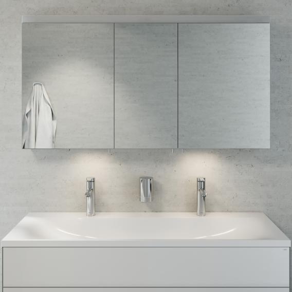 Keuco Royal Reflex Doppelwaschtisch mit Waschtischunterschrank und LED-Spiegelschrank Front weiß hochglanz / Korpus weiß hochglanz