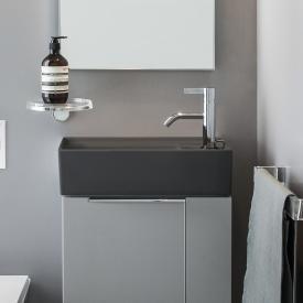 Kartell by Laufen Handwaschbecken, mit verdecktem Ablauf graphit matt, mit 1 Hahnloch