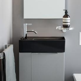 Kartell by Laufen Handwaschbecken, mit verdecktem Ablauf schwarz, mit 1 Hahnloch