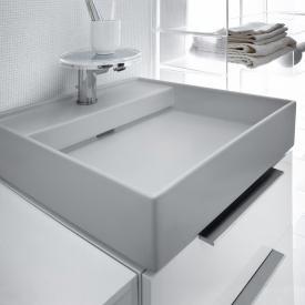 Kartell by Laufen Handwaschbecken, mit verstecktem Ablauf grau matt, mit 1 Hahnloch