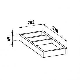 Laufen Alessi One Ordnungssystem B: 20,2 H: 4,5 T: 37 cm für Schubladen T: 50 cm, klein weiß lackiert