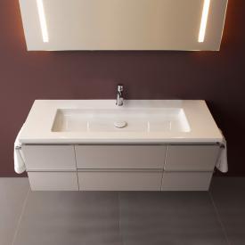 LAUFEN Living Square Waschtisch mit Case Waschtischunterschrank mit 2 Auszügen und 2 Türen weiß, mit 1 Hahnloch