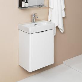 LAUFEN Pro S Handwaschbecken mit Base Waschtischunterschrank mit 1 Tür Front weiß glanz / Korpus weiß glanz, WT weiß, mit 1 Hahnloch, mit Überlauf