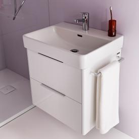 Laufen Pro S Waschtisch mit Waschtischunterschrank mit 2 Auszügen Front weiß glanz / Korpus weiß glanz, WT weiß, mit Clean Coat, mit 1 Hahnloch, mit Überlauf