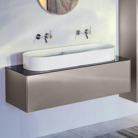 LAUFEN SONAR Waschtischunterschrank mit 1 Auszug für Doppel-Aufsatzwaschtisch Front titan / Korpus titan, Abdeckplatte nero marquina