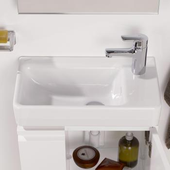 Laufen Pro S Handwaschbecken, asymmetrisch weiß, mit Clean Coat, mit 1 Hahnloch
