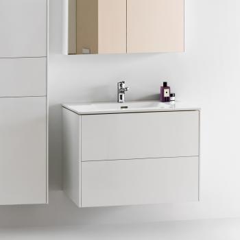 Laufen Pro S Waschtisch mit Base Waschtischunterschrank mit 2 Auszügen Front weiß glanz / Korpus weiß glanz, 1 Hahnloch