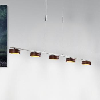 Näve Wood Satin LED Pendelleuchte 5-flammig