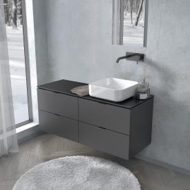 PREMIUM 100 Konsole mit Waschtischunterschrank mit 4 Auszügen Front schwarz seidenmatt / Korpus schwarz seidenmatt, Griff schwarz matt