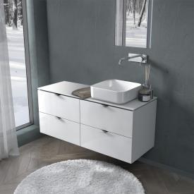 PREMIUM 100 Konsole mit Waschtischunterschrank mit 4 Auszügen Front weiß hochglanz / Korpus weiß hochglanz, Griff chrom