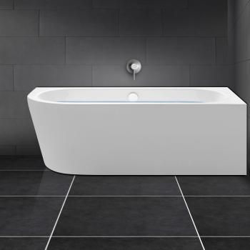 PREMIUM Vorwand-Eck-Badewanne ohne integrierten Wassereinlauf
