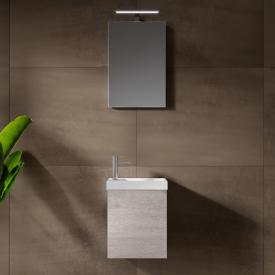 Riho Porto Fountain Handwaschbecken mit Waschtischunterschrank und LED-Spiegel Front eiche grau / Korpus eiche grau