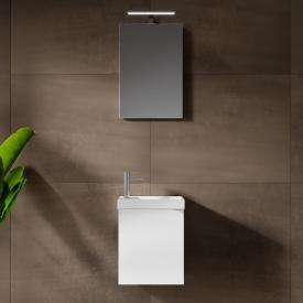 Riho Porto Fountain Handwaschbecken mit Waschtischunterschrank und LED-Spiegel Front weiß hochglanz / Korpus weiß hochglanz
