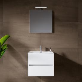 Riho Porto Slim Waschtisch mit Waschtischunterschrank und LED-Spiegel Front weiß hochglanz / Korpus weiß hochglanz