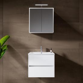 Riho Porto Slim Waschtisch mit Waschtischunterschrank und LED-Spiegelschrank Front weiß hochglanz / Korpus weiß hochglanz