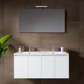 Riho Porto Square Doppelwaschtisch mit Waschtischunterschrank und LED-Spiegel Front weiß hochglanz / Korpus weiß hochglanz
