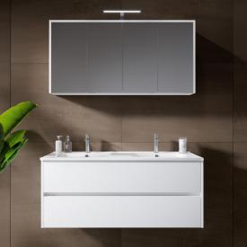 Riho Porto Square Doppelwaschtisch mit Waschtischunterschrank und LED-Spiegelschrank Front weiß hochglanz / Korpus weiß hochglanz