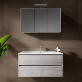 Riho Porto Square Waschtisch mit Waschtischunterschrank und LED-Spiegelschrank Front eiche grau / Korpus eiche grau