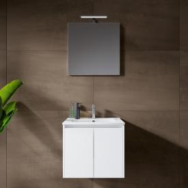 Riho Porto Square Waschtisch mit Waschtischunterschrank und LED-Spiegel Front weiß hochglanz / Korpus weiß hochglanz