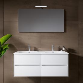 Riho Porto Wave Doppelwaschtisch mit Waschtischunterschrank und LED-Spiegel Front weiß hochglanz / Korpus weiß hochglanz
