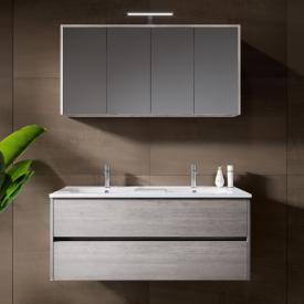 Riho Porto Wave Doppelwaschtisch mit Waschtischunterschrank und LED-Spiegelschrank Front eiche grau / Korpus eiche grau