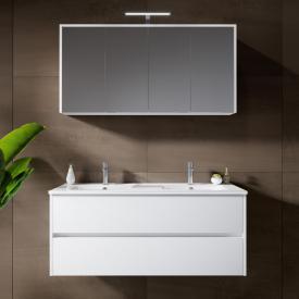 Riho Porto Wave Doppelwaschtisch mit Waschtischunterschrank und LED-Spiegelschrank Front weiß hochglanz / Korpus weiß hochglanz
